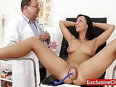 Gyno, Babe, Pump, Russian brunette goes in for a gyno exam, Pornhub.com