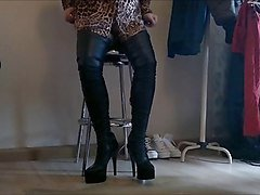 Boots, Crossdresser, Leather, Asianbig boot, Xhamster.com