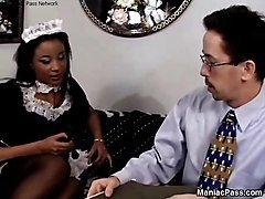 Black, Stockings, Maid, Indonesian young maid fucking with boy, Xhamster.com