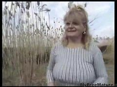 Granny, Cumshot, Mature, Granny hairy creampie doggystyle, Gotporn.com