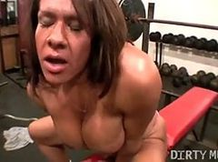 Gym, Girl gets fucked with gym tights on, Xhamster.com
