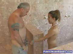 Asian, Blowjob, Public, Beautiful lady fucked by dirty old man, Gotporn.com