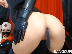 Babe, Latex, Bust babe gets two hard cocks, Fapli.com