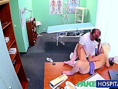 Blonde, Doctor, Milf, Big tit brunette milf doctor gives blowjob with, Nuvid.com
