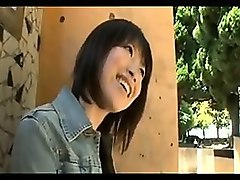 Asian, Bus, Cute, Japanese chick gets cum on her leather pants, Nuvid.com