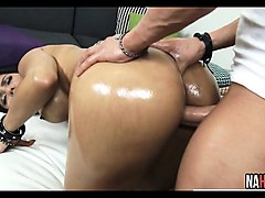 Latina, Oil, Ass, Bbw white oiled ass fucked by black dick close, Nuvid.com