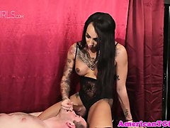 Shemale mistress fucks slave and cum in his mouth, Nuvid.com