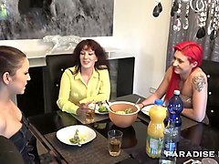 Lesbian, Old And Young, Threesome, Skinny old and young in hotel, Txxx.com