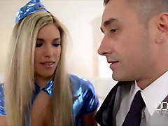 Stewardess, Cock massage with vibrator, Sunporno.com